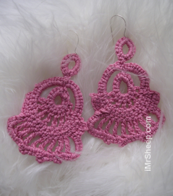 Dusky Pink Crochet Earrings