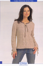 Cable Sweater with Ties, Leaflets No. ES06
