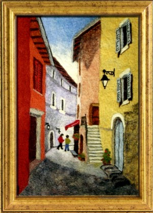 French Street Scene, Needle Felting by Barbara Allen, New Zealand