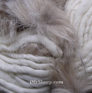 KATIA EVITA MERINO [70% Virgin Merino Wool, 30% Synthetic Fur], Wool-Faux Fur Mix, col. 40 Off White with Creme Brulee Fur