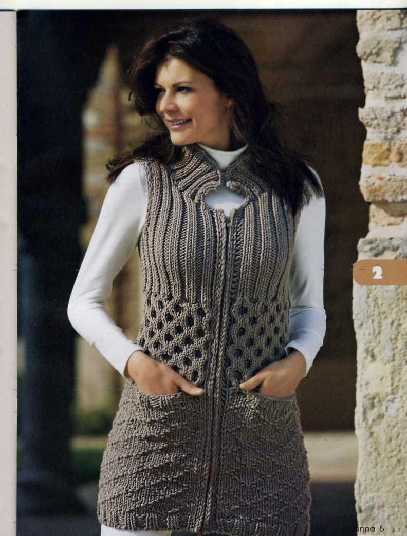 Вязание женские модели - Theknitting.ru Вязание жилета женского спицами Вязаные спицами для женщин пуловеры